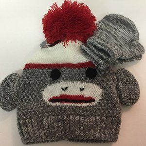 Toby & Me Sock Monkey Brown Hat and Mitten Bundle